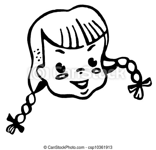 Clipart of Portrait of girl smiling csp10361913 - Search Clip Art ...