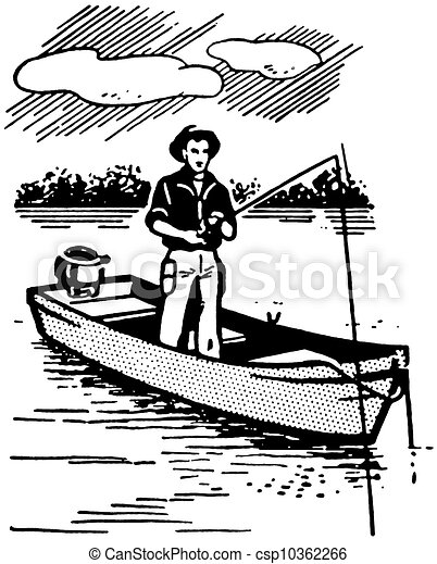 how to draw a man fishing