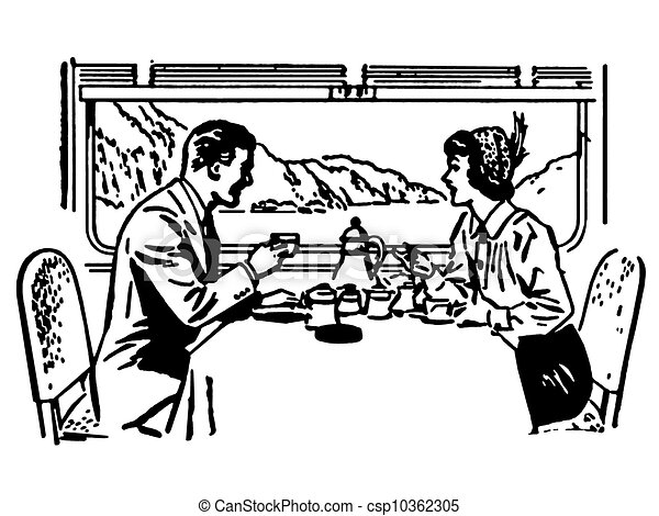 A Black And White Version Of Vintage Illustration Couple Dining In Train