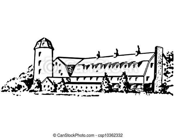 Drawings of A black and white version of a large farm house and ...