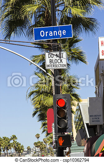 street sign Orange Drive  in Hollywood - csp10362794
