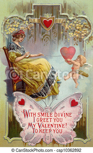 A vintage Valentines Day card with a woman pulling in a heart with string around it and cupid holding on - csp10362892