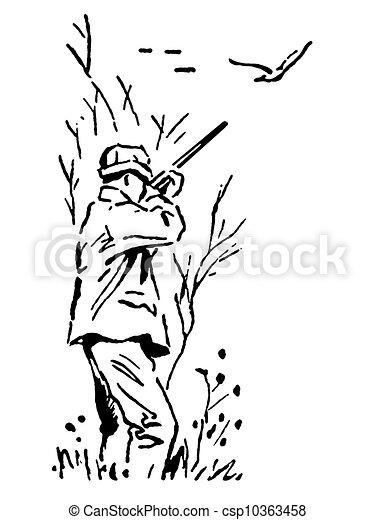 Illustrations de chasse exp dition version noir canard - Dessin de chasse ...
