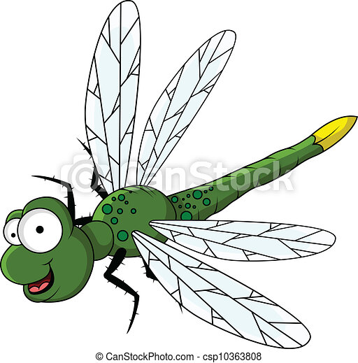 Clipart vecteur de rigolote vert dessin anim libellule - Libellule dessin ...