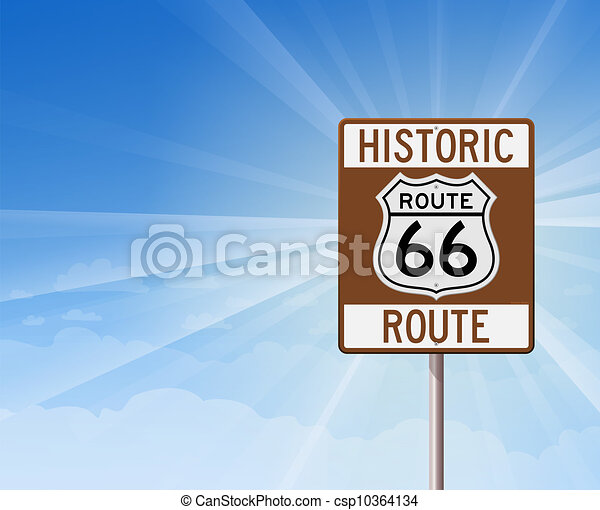 Historic Route 66 and Blue Sky - csp10364134