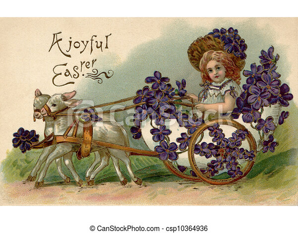 A vintage Easter postcard of a girl riding in a wagon full of violets being pulled by two lamb - csp10364936