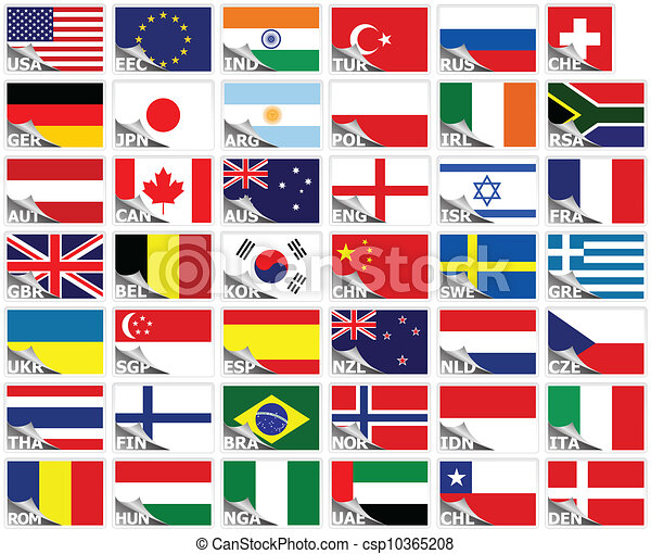 Vector Clipart of Flags of the world set (stickers collection ...