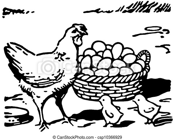 Clip art de poussins oeufs deux illustration grand petit version csp10366929 - Clipart poule ...
