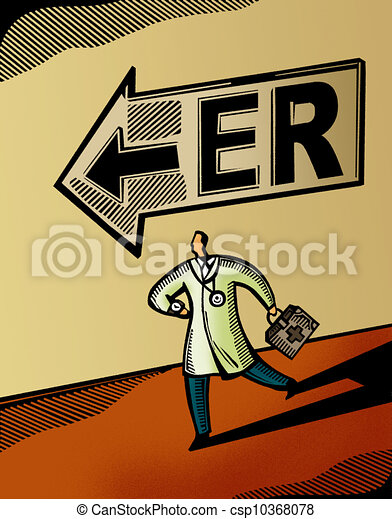 Doctor running towards the Emergency Room - csp10368078