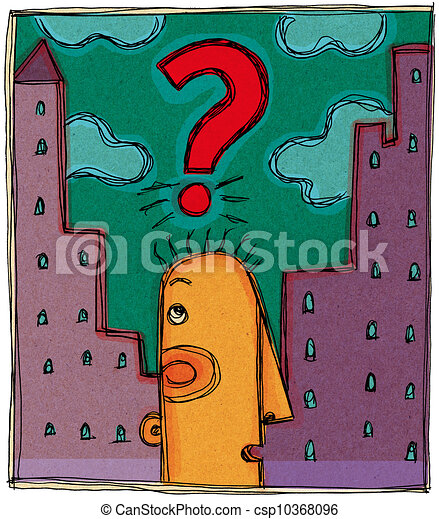 A man with a question mark over his head and the city behind - csp10368096