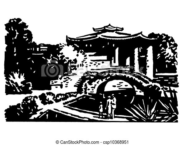 A black and white version of a vintage illustration of Japanese gardens - csp10368951