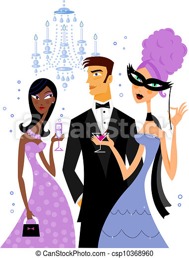 stock illustration of a group of people at a gala dinner