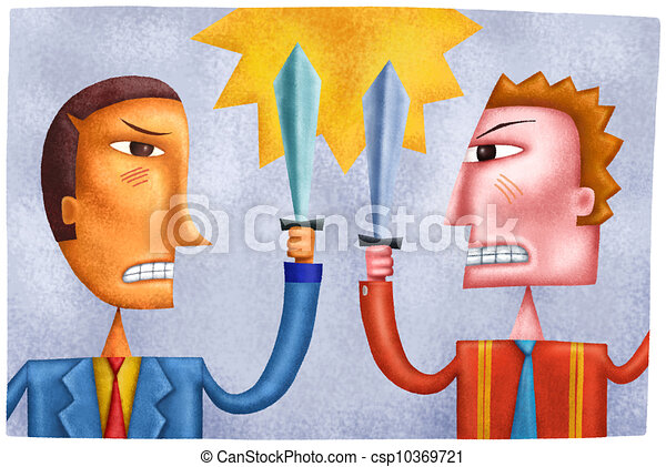 Swords Clashing Drawing Two Businessmen Clashing And