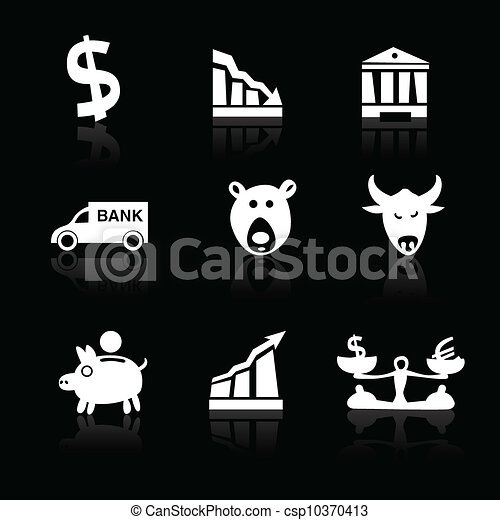 Banking icons hand drawn part 1 white on black - csp10370413