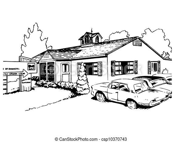 dessin de vendange suburbain illustration version noir maison csp10370743 recherchez. Black Bedroom Furniture Sets. Home Design Ideas