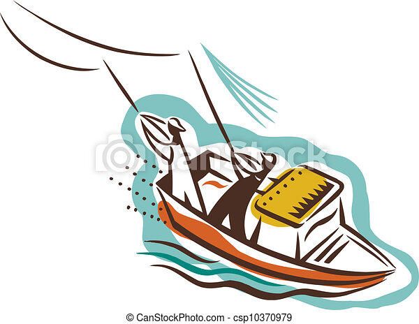 Two people on a boat catching fish - stock illustration, royalty free ...