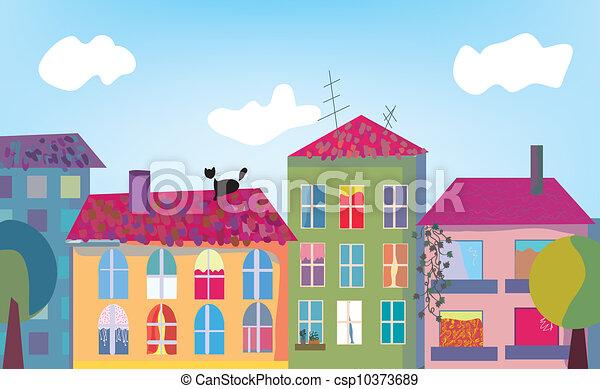 Stock de ilustraciones de pueblo casas caricatura - Fachadas casas de pueblo ...