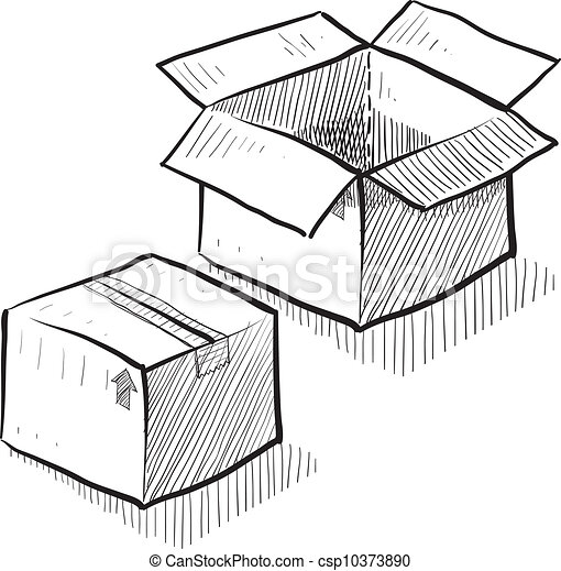 Eps Vectors Of Box Or Shipping Sketch Doodle Style Box