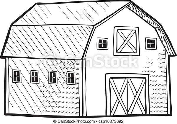 how to draw a small barn