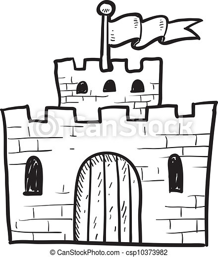 castles black and white clip art