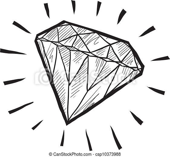 Vecteur de croquis diamant doodle style diamant ou - Diamant dessin ...