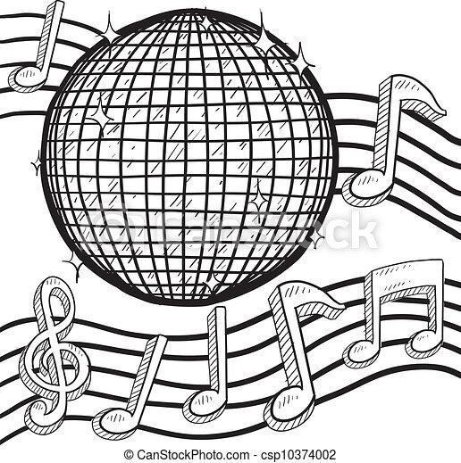 Vector Clipart of Retro disco ball sketch - Doodle style retro ...