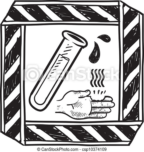 Vector Clipart of Chemical danger sign sketch - Doodle style ...