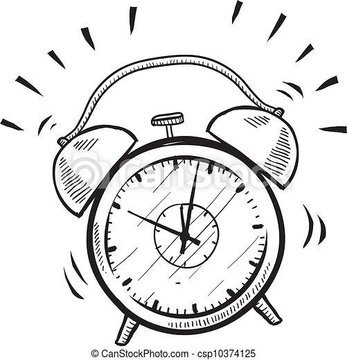 Illustration Vecteur de reveil, retro, croquis, horloge ...