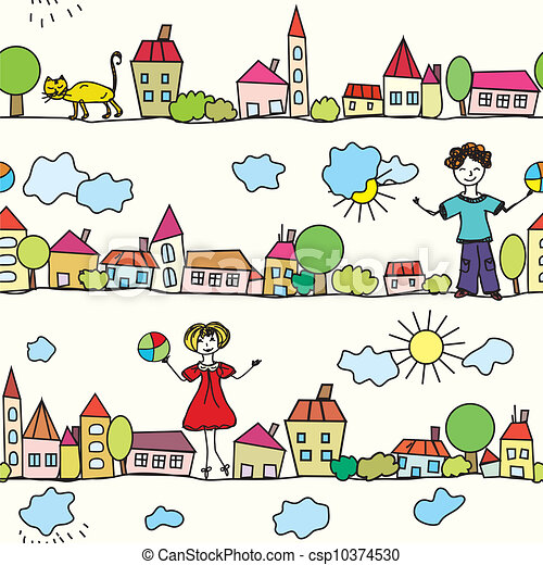 Kids House Drawing Kids Seamless Pattern With