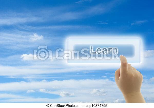 criança, mão, Tocar, aprender, botão - csp10374795