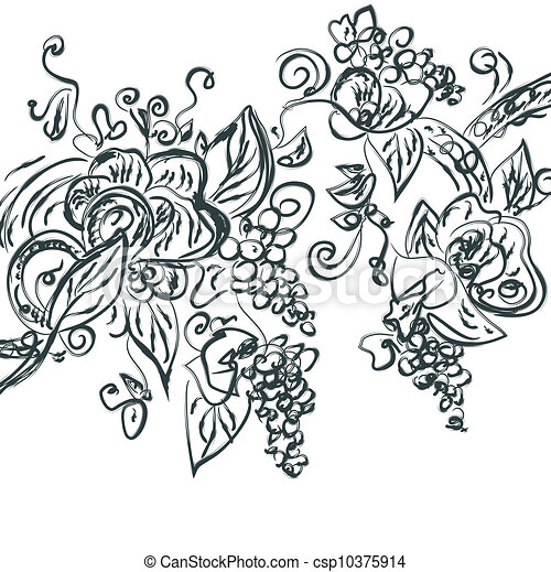 Floral hand drawn card with grape vine - csp10375914