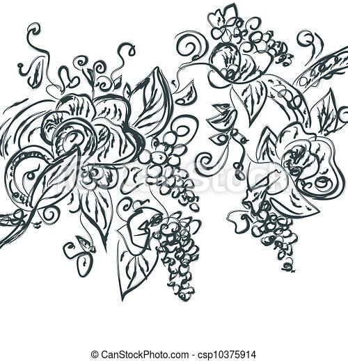 Floral hand drawn card with grape vine - csp10375914
