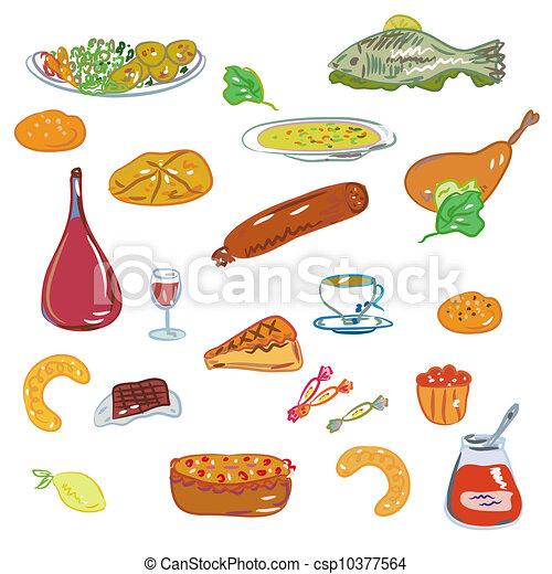 Stock de ilustracion de alimento dulces vector conjunto for Comidas faciles para cocinar