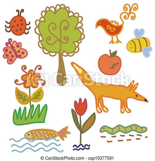 Stock de Ilustraciones de Conjunto, caricatura, naturaleza ...