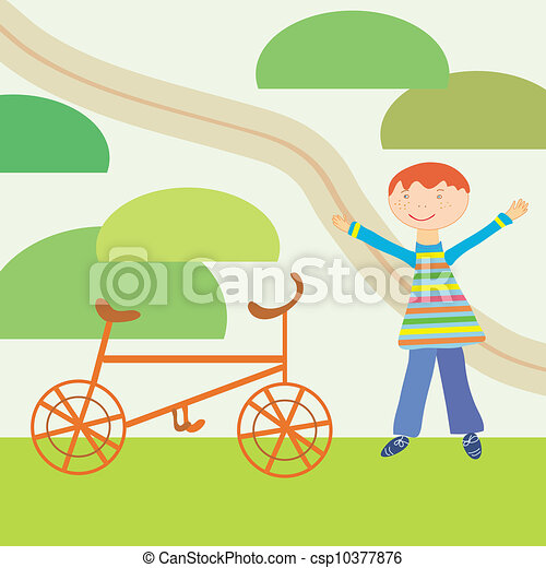 Cartoon boy and bicycle ready to journey - csp10377876