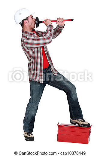 stock photo of plumber blowing onto a toilet plunger csp10378449 search stock images. Black Bedroom Furniture Sets. Home Design Ideas