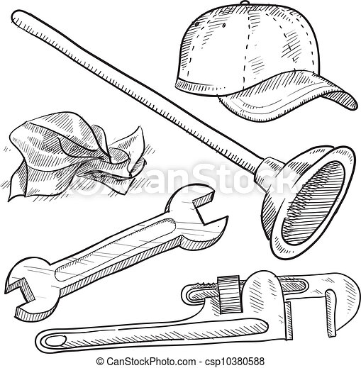 plomberie, croquis, objets - csp10380588