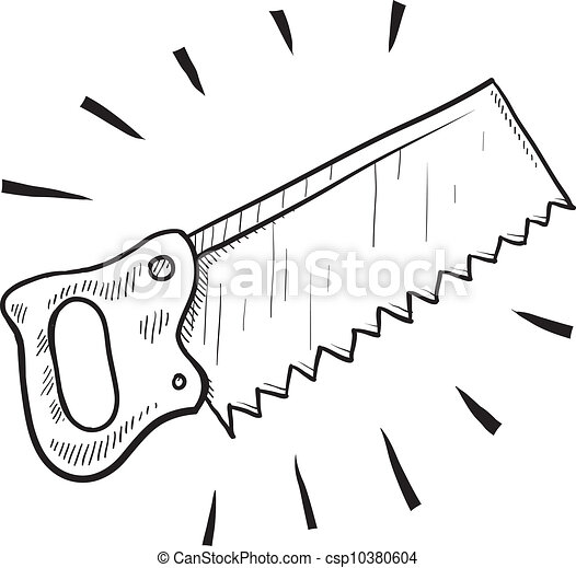 Wood saw sketch - csp10380604