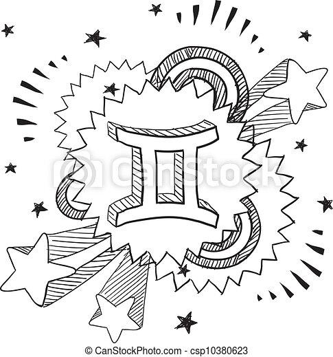 Gemini Horoscope Drawings Gemini Zodiac Pop Vector