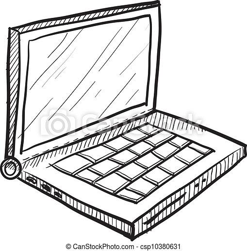 Vectores de computador portatil, vector, Bosquejo - garabato ...