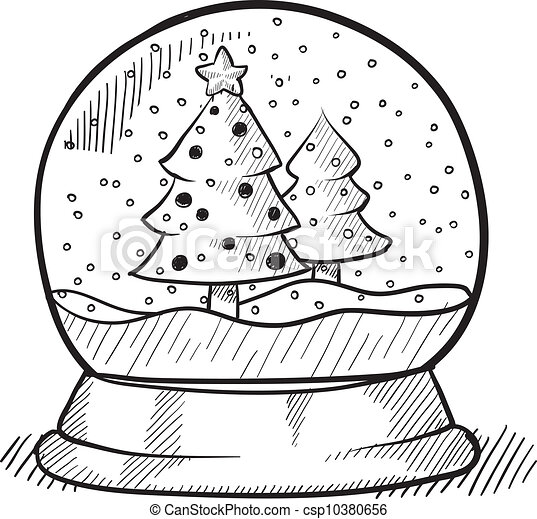 Clipart Vector Of Christmas Tree Snow Globe Sketch Doodle Style