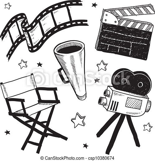 Vector - Movie set equipment sketch - stock illustration, royalty free ...