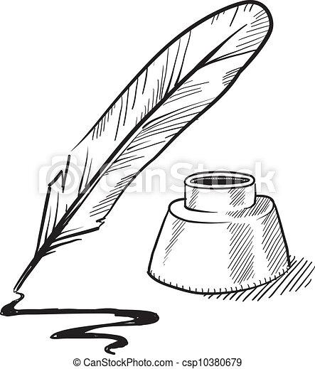 illustrations vectoris es de stylo encrier croquis penne doodle style plume stylo. Black Bedroom Furniture Sets. Home Design Ideas