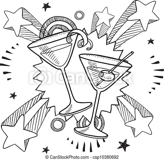 EPS Vectors of Cocktail excitement sketch - Doodle style martini ...