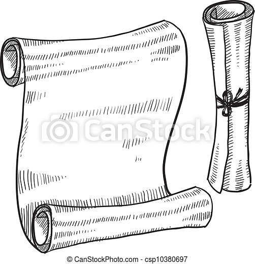 Ancient Scrolls Drawing Doodle Style Scroll or Ancient