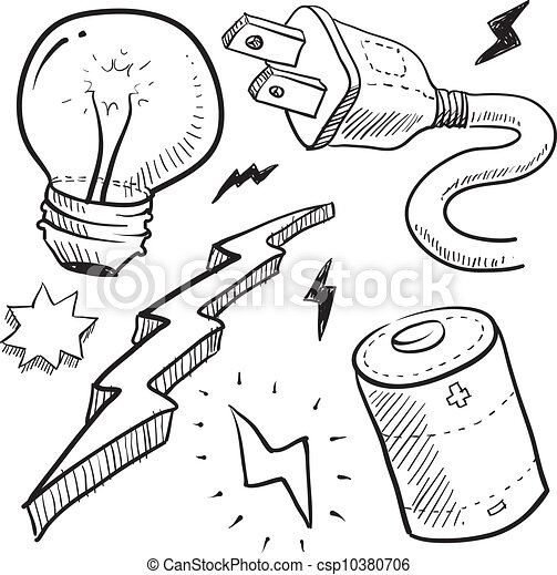 Electricity objects sketch - csp10380706