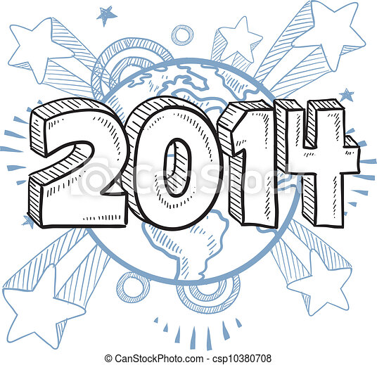 2014 New Year's Eve sketch - csp10380708
