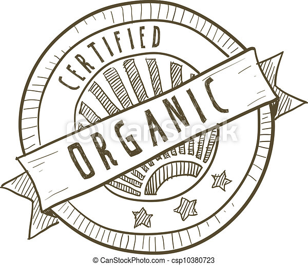 Vector Illustration of Certified organic food label ...