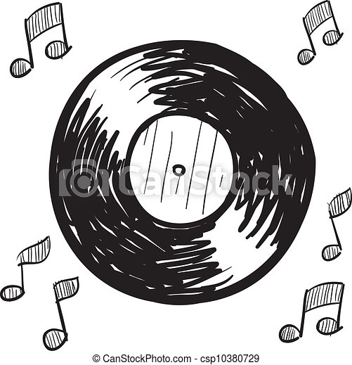 Vector Illustration Of Vinyl Record Sketch Doodle Style