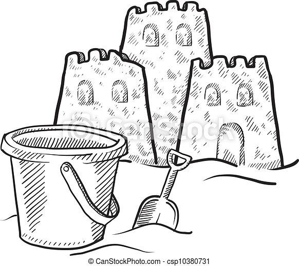 Vectors Of Sand Castle Sketch